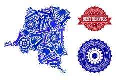 Le meilleur collage de service de la carte de la République démocratique du Congo et des timbres rayés illustration libre de droits