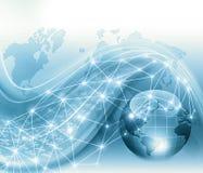Le meilleur concept d'Internet des affaires globales Globe, lignes rougeoyantes sur le fond technologique Wi-Fi, rayons, symboles Image stock