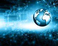 Le meilleur concept d'Internet des affaires globales Globe, lignes rougeoyantes sur le fond technologique Wi-Fi, rayons, symboles Photographie stock