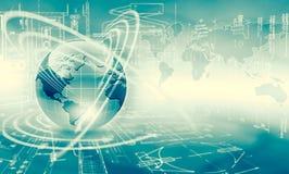 Le meilleur concept d'Internet des affaires globales Globe, lignes rougeoyantes sur le fond technologique Wi-Fi, rayons, symboles Photos libres de droits