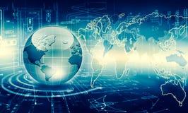 Le meilleur concept d'Internet des affaires globales Globe, lignes rougeoyantes sur le fond technologique Wi-Fi, rayons, symboles Photographie stock libre de droits
