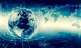 Le meilleur concept d'Internet des affaires globales Globe, lignes rougeoyantes sur le fond technologique Wi-Fi, rayons, symboles Images stock