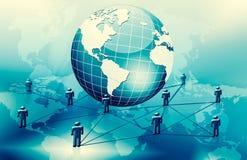 Le meilleur concept d'Internet des affaires globales Globe, lignes rougeoyantes sur le fond technologique Wi-Fi, rayons, symboles Photos stock