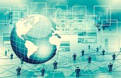 Le meilleur concept d'Internet des affaires globales Globe, lignes rougeoyantes sur le fond technologique Wi-Fi, rayons, symboles Photo stock