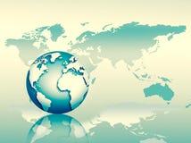 Le meilleur concept d'Internet des affaires globales Globe, lignes rougeoyantes sur le fond technologique Wi-Fi, rayons, symboles Images libres de droits