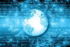 Le meilleur concept d'Internet des affaires globales Globe, lignes rougeoyantes sur le fond technologique Wi-Fi, rayons, symboles Photo libre de droits