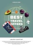 Le meilleur concept de l'offre a4 de voyage Cadre des textes et de place sur le fond des attributs du tourisme Applicable pour Images stock