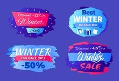 Le meilleur ensemble d'offre spéciale de la vente 2017 d'hiver de remises illustration stock