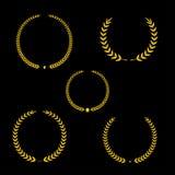 Le meilleur ensemble de guirlande de laurier de récompense d'or de vecteur de récompense Label de gagnant, victoire de symbole de Images stock