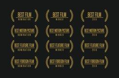 Le meilleur ensemble de logo de gagnant de récompense de film illustration stock