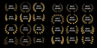 Le meilleur méga de récompense réglé Guirlande de laurier de récompense d'or de vecteur Version noire Illustrations d'isolement illustration libre de droits