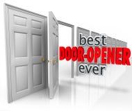 Le meilleur ouvreur jamais 3d de porte exprime s'ouvrir de ventes de client Images libres de droits