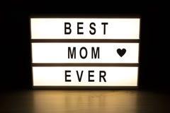 Le meilleur panneau de signe de caisson lumineux de maman jamais Photo stock