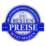 Le meilleur prix, économisent maintenant Satisfaction garantie - icône allemande Photos stock