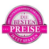 Le meilleur prix, économisent maintenant Satisfaction garantie - icône allemande illustration de vecteur