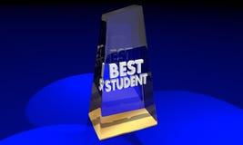 Le meilleur prix d'éducation de dessus de trophée de récompense d'école illustration stock