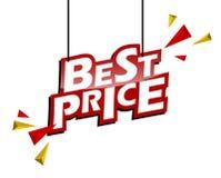 Le meilleur prix d'étiquette rouge et jaune photographie stock libre de droits
