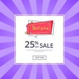 Le meilleur prix 25 pour cent outre de bannière de proposition de vente Image stock