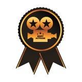 Le meilleur projecteur d'or d'actrice de récompense noire de rosette illustration libre de droits