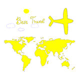 Le meilleur voyage, carte lumineuse, gaie, ensoleillée, backg blanc Illustration de Vecteur