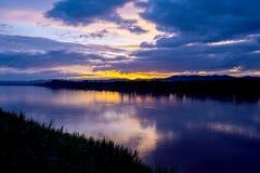 Le Mekong au coucher du soleil, Chiang Khan, Loei, Thaïlande Images libres de droits