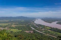 Le Mekong au temple de Katong, au Nong Khai, aux vacances de la Thaïlande et aux longues vacances Image stock