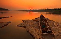 Le Mekong dans le coucher du soleil Photos libres de droits