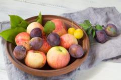 Le mele e le prugne fresche in un'argilla lanciano fotografia stock