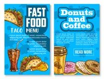 Le menu de casse-croûte et de repas d'aliments de préparation rapide esquissent l'affiche Illustration de Vecteur