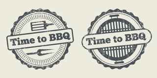Le menu de restaurant de grill de label de barbecue et de gril conçoivent l'élément de vecteur Photo stock