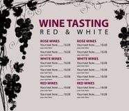 Le menu pour l'échantillon de vin a modelé le groupe de raisins illustration de vecteur