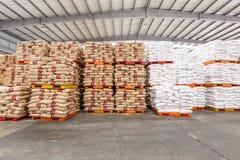 Le merci del nord del magazzino del trasporto della stazione ferroviaria di Hangzhou hanno accatastato su molti prodotti di Polyv Fotografie Stock