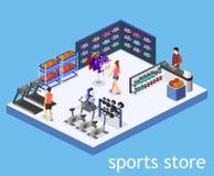 Le merci interne di vettore piano isometrico 3D per gli sport comperano royalty illustrazione gratis