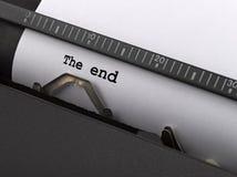 Le message d'extrémité introduit par la machine à écrire de cru Images libres de droits