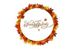 Le message de calligraphie de thanksgiving, affiche de logo de bannière de cadre de cercle, érable d'automne de bonheur part du c illustration de vecteur
