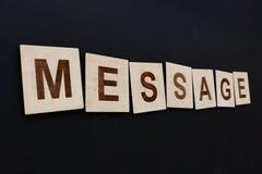 Le MESSAGE de Word sur en bois signe plus de le noir Image stock