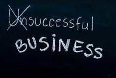 Le message réussi d'affaires a tourné d'infructueux, manuscrit avec la craie blanche sur le tableau noir image stock