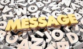 Le message Word marque avec des lettres la communication Image stock