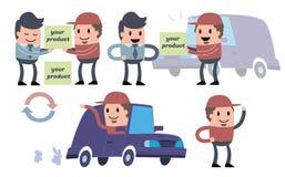 Le messager dans un chapeau rouge apporte des marchandises en voiture Photo libre de droits
