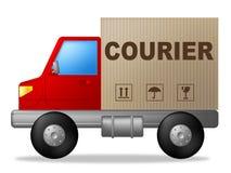 Le messager Truck Means Sending transportant et livrent Images libres de droits