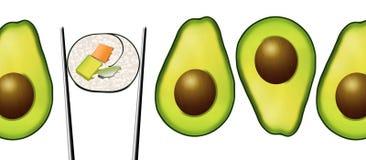 Le metà dell'avocado con i pozzi sono vedute accanto ad un rotolo di sushi che contiene la carota, l'avocado ed il cetriolo illustrazione di stock