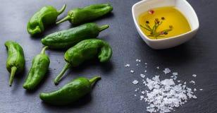 Le Mexicain chaud vert cru poivre des tapas d'Espagnol de padron de piments de jalapeno Image stock
