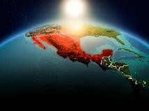 Le Mexique dans le lever de soleil de l'orbite Photo libre de droits