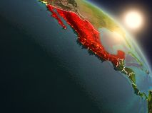 Le Mexique de l'espace pendant le lever de soleil Image stock