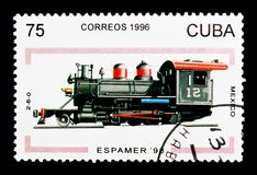2-6-0 le Mexique, Espamer - serie 98 (de locomotives), vers 1996 Image stock