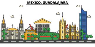 Le Mexique, Guadalajara Horizon de ville, architecture, bâtiments, rues, silhouette, paysage, panorama, points de repère, icônes illustration libre de droits