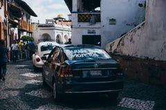 LE MEXIQUE - 22 SEPTEMBRE : Voiture utilisée pour porter la nourriture et les approvisionnements pour photographie stock