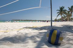 Le Mexique sur le réseau de valleyball de plage Photographie stock