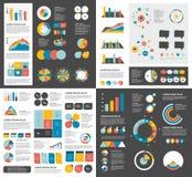 Le méga a placé des diagrammes d'éléments d'infographics, graphiques, diagrammes de cercle, diagrammes, bulles de la parole Appar Photographie stock