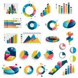 Le méga a placé des diagrammes, graphiques, diagrammes de cercle Photographie stock libre de droits